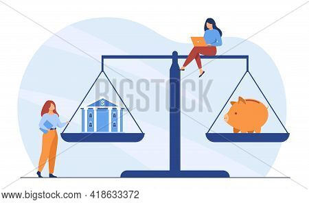 Tiny People With House And Piggy Bank On Scales. Female Character Buying House, Investing Money Flat
