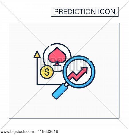 Casinos Predictive Analytics Color Icon. Data Tracking And Personalized Gaming. Enhance Profit Margi