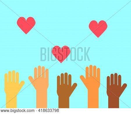 The Hands Of Different People Are Raised Up. Symbol. Vector Illustration.