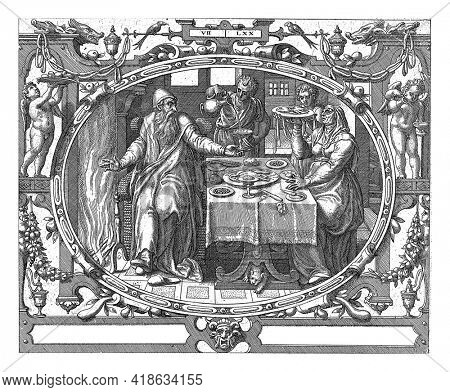 In an oval frame decorated with ornaments, a depiction of an old man and his wife at the table by the fireplace. Servants serve them food and drink.