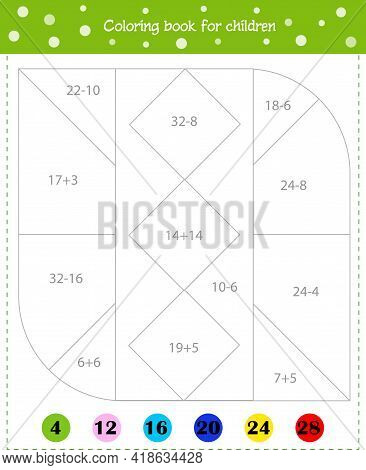 Mathematical Coloring Book For Children. Worksheet. Addition And Subtraction.vector