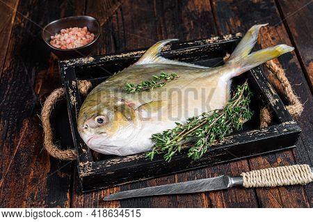 Raw Fish Butterfish Or Pompano With Herbs In A Wooden Tray. Dark Wooden Background. Top View