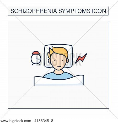 Schizophrenia Symptoms Color Icon. Sleep Problem. Insomnia. Healthcare Concept. Isolated Vector Illu