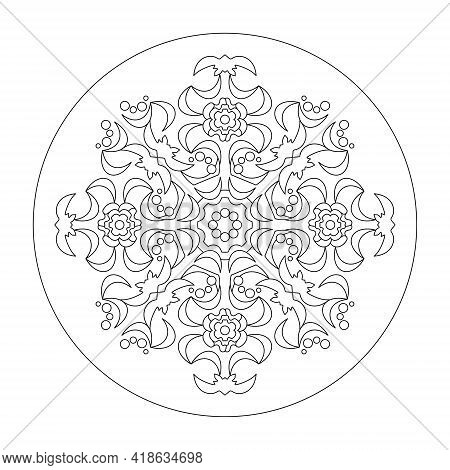 Mandala Coloring Page. Abstract. Art Therapy. Anti-stress. Vector Illustration Black And White.