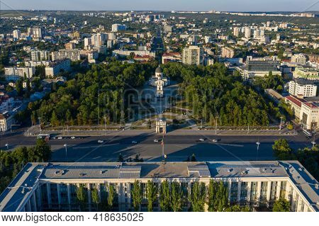 Chisinau, Moldova, August 2020: Aerial view of Government House and Cathedral Park in the center of Chisinau, capital of Moldova, at sunset
