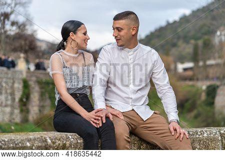 Happy Young Caucasian Heterosexual Couple In Love On Valentine