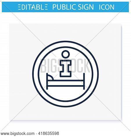 Hotel Information Symbol Line Icon. Hotel Location. Helpdesk Sign. Public Place Navigation. Universa
