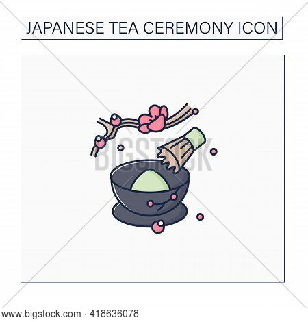 Tea Whisk Color Icon. Special Whip For Matcha Powder. Teatime Traditions. Tea Ceremony Concept.isola