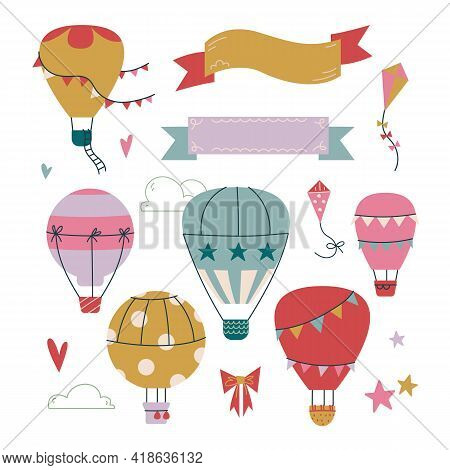 Set Of Cliparts Hot Air Balloon In The Sky With Clouds. Ribbon For Text Template. Vector Print For C