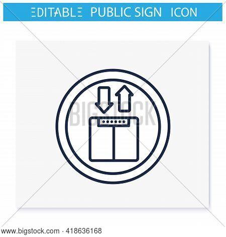 Elevator Symbol Line Icon. Upward And Downward Sign. Public Place Navigation. Universal Public Build