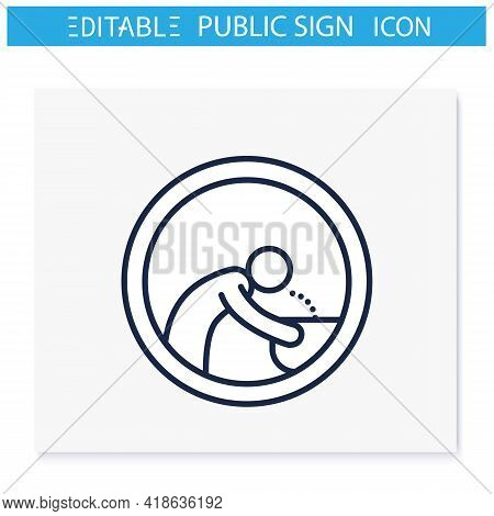 Drinking Fountain Symbol Line Icon. Man Drinks Water From Hand Drinking Fountain. Public Place Navig