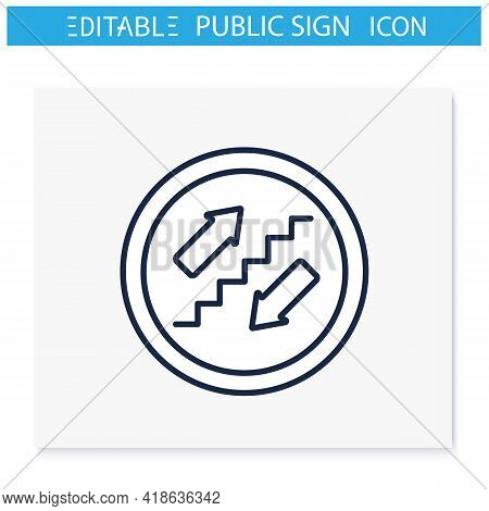 Stairs Symbol Line Icon. Stairway Sign. Upstairs And Downstairs. Public Place Navigation. Universal