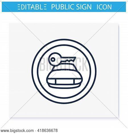 Car Rental Symbol Line Icon. Vehicle Rent Sign. Rent Service Office. Public Place Navigation. Univer