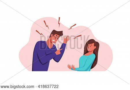 Angry, Arguing Couple Of People Shouting Vector Illustration.