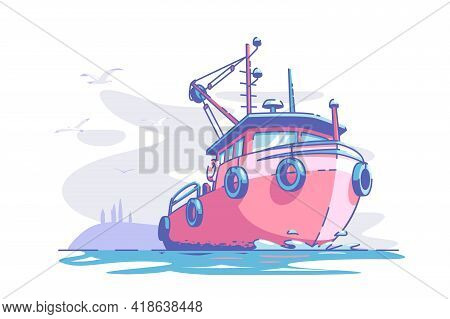 Boat Floating At Sea Vector Illustration. Red