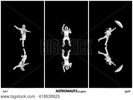 Lonely Astronaut. Isolated Silhouettes Of Cosmonaut. Man In Space Set