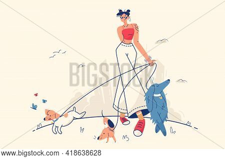 Stylish Girl Walking With Dogs Vector Illustration