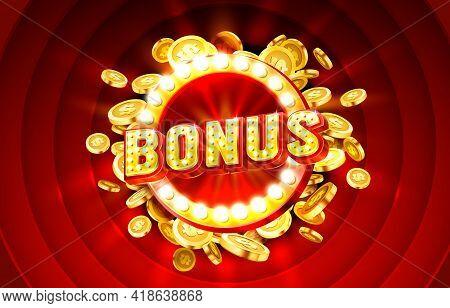 Casino Bonus Label Frame, Golden Banner, Border Winner, Vegas Game. Vector