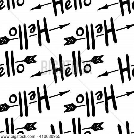 Modern Sketch Design Template With Black Doodle Hello Arrow Pattern On White Background For Textile