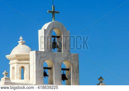 White Bell Tower Of Mission San Xavier Del Bac (famous White Dove Of The Desert) In Tohono O'odham I