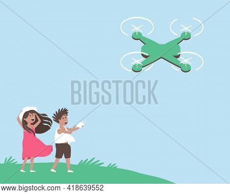 Children In The Meadow Launch A Quadcopter. Summer Outdoor Entertainment. Summer Holiday Postcard De