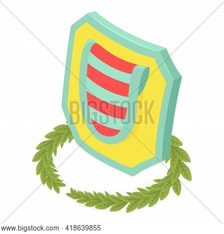 Multicolored Shield Icon. Isometric Illustration Of Multicolored Shield Vector Icon For Web