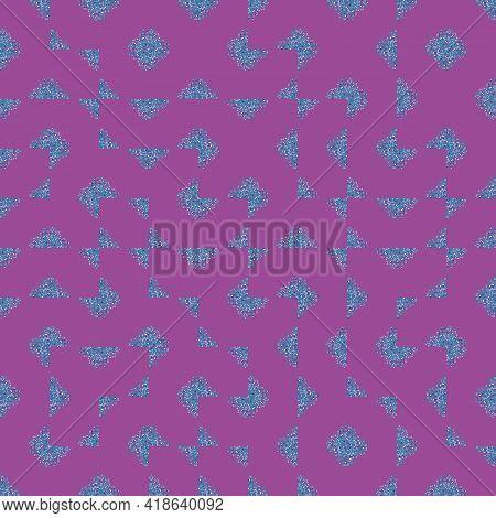 Vector Truchet Style Geometric Broken Up Quatrefoil Shapes Seamless Pattern Background. Purple Blue