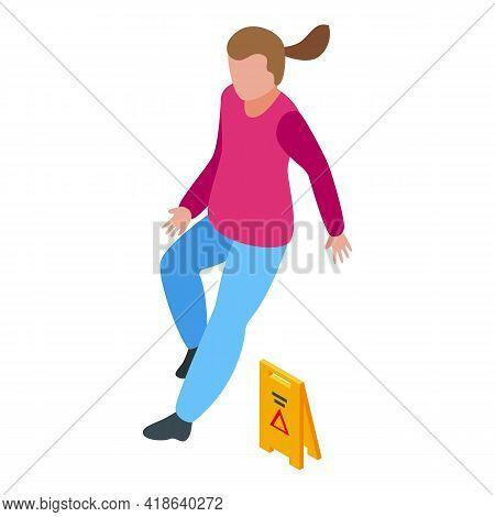 Floor Careless Person Icon. Isometric Of Floor Careless Person Vector Icon For Web Design Isolated O