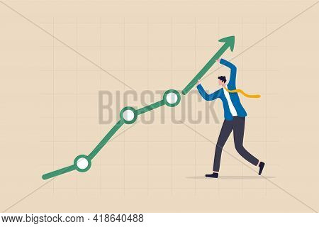 Career Growth Or Business Achievement, Stock Market Rising Up From Economic Recovery Concept, Busine