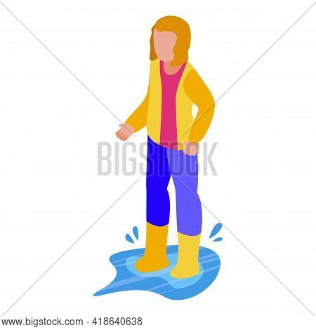 Disobedient Girl In Rain Boots Icon. Isometric Of Disobedient Girl In Rain Boots Vector Icon For Web