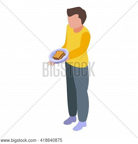 Disobedient Boy With Sandwich Icon. Isometric Of Disobedient Boy With Sandwich Vector Icon For Web D