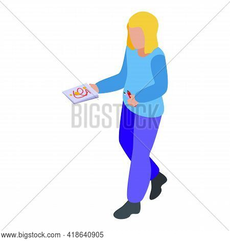 Disobedient Girl Drawing Icon. Isometric Of Disobedient Girl Drawing Vector Icon For Web Design Isol