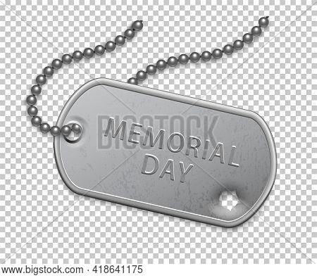 Happy Memorial Day. Silver Military Badge On Chain With Bullet Hole. United States Patriotic Element