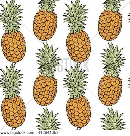 Seamless Background With Pineapples. Exotic Fruits, Solid Background. Whole Pineapple Fruits, Backgr