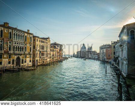 View on the Grand Canal and Basilica Santa Maria della Salute from the Ponte dell'Accademia in Venice, Italy