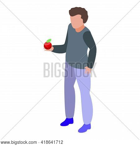 Boy Take Apple Icon. Isometric Of Boy Take Apple Vector Icon For Web Design Isolated On White Backgr