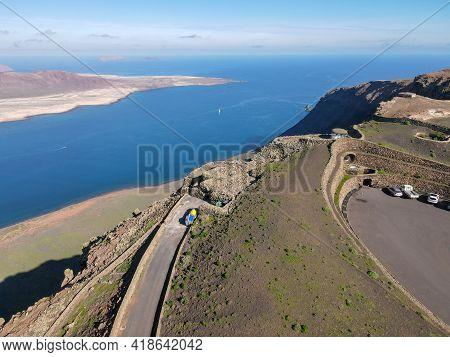 Drone View At The Coast Of Mirador Del Rio On Lanzarote, Spain