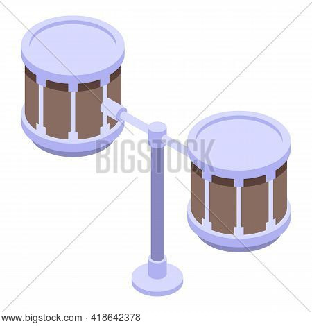 Double Drums Icon. Isometric Of Double Drums Vector Icon For Web Design Isolated On White Background