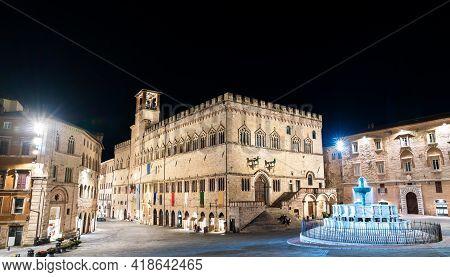 The Palazzo Dei Priori And Fontana Maggiore In Perugia - Umbria, Italy