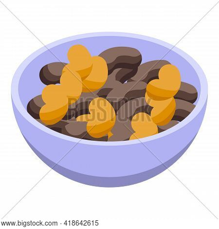 Nuts Bowl Icon. Isometric Of Nuts Bowl Vector Icon For Web Design Isolated On White Background