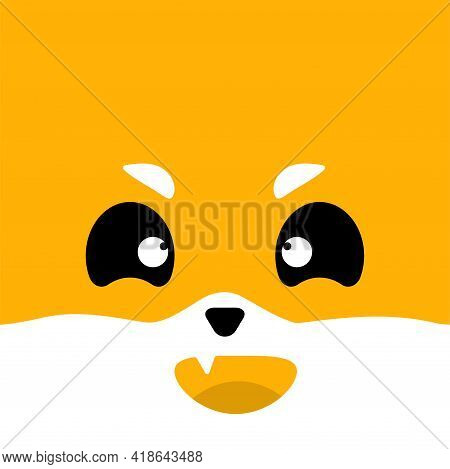 Muzzle Of A Cute Red Fox. Vector Illustration.