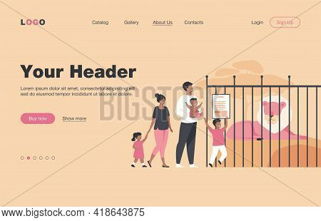 Family With Kids In Zoo Looking At Lion In Cage Flat Vector Illustration. Cartoon Tourists Walking I