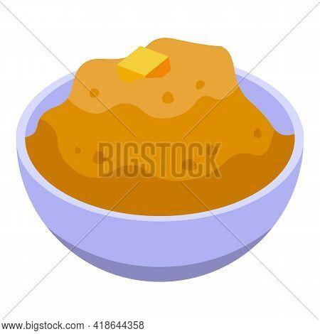 Mashed Potatoes Holiday Icon. Isometric Of Mashed Potatoes Holiday Vector Icon For Web Design Isolat