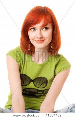 beautiful redhead girl in green t-shirt