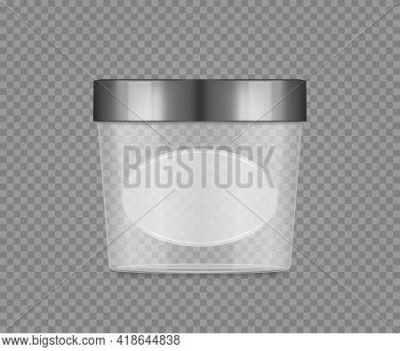 Empty Transparent Jar Mockup With Label And Silver Cap For Cheese, Ice Cream, Butter, Frozen Yoghurt