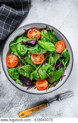 Healthy Salad With Mix Leaves Mangold, Swiss Chard, Spinach And Arugula In A Salad Bowl. White Backg