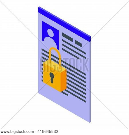 Private Personal Data Icon. Isometric Of Private Personal Data Vector Icon For Web Design Isolated O