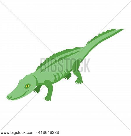 River Crocodile Icon. Isometric Of River Crocodile Vector Icon For Web Design Isolated On White Back