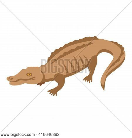 Tropical Crocodile Icon. Isometric Of Tropical Crocodile Vector Icon For Web Design Isolated On Whit