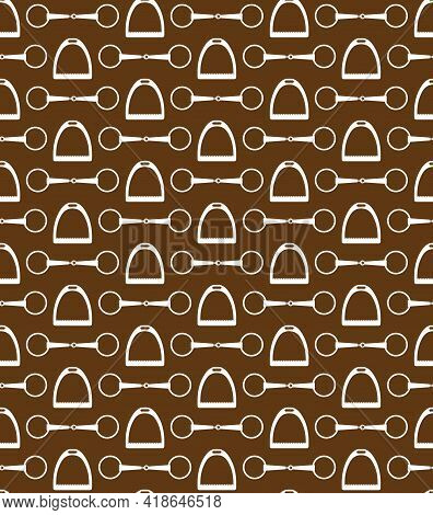 Vector Seamless Pattern Of Flat Horse Equestrian Bit Snaffle And Stirrup Isolated On Brown Backgroun